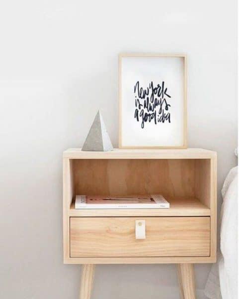 mesa de noche de madera moderna