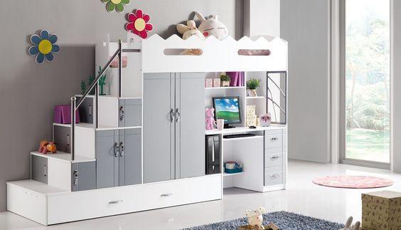 cama infnatil con escritorio y armario