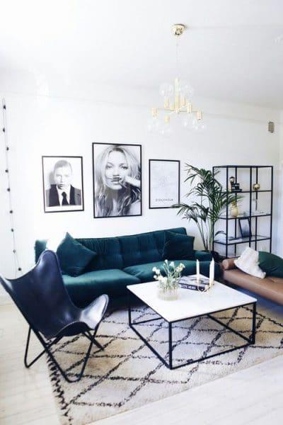 sala de estar sillon verde