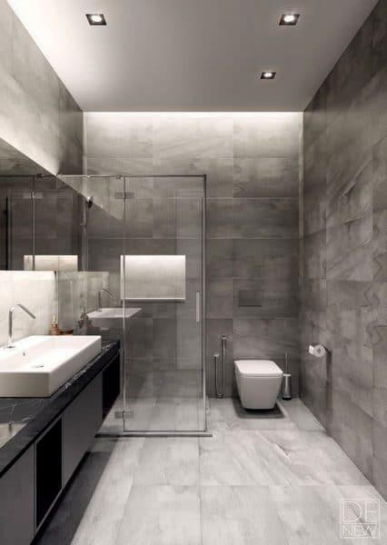 baño moderno tonos grises