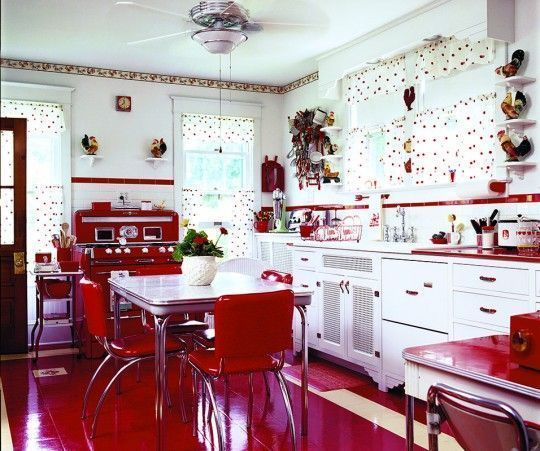 cocina con piso rojo