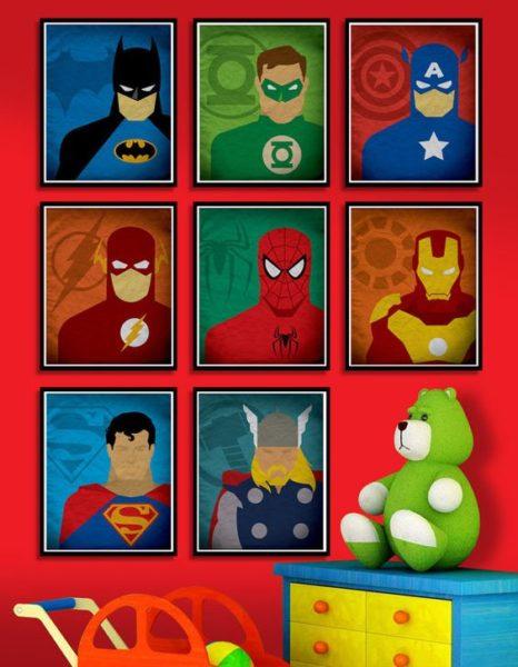 pared para niños con posters de superheroes