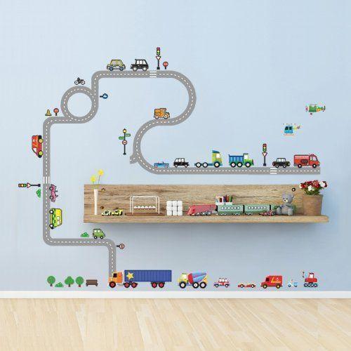 pista de auto pintada en pared infantil