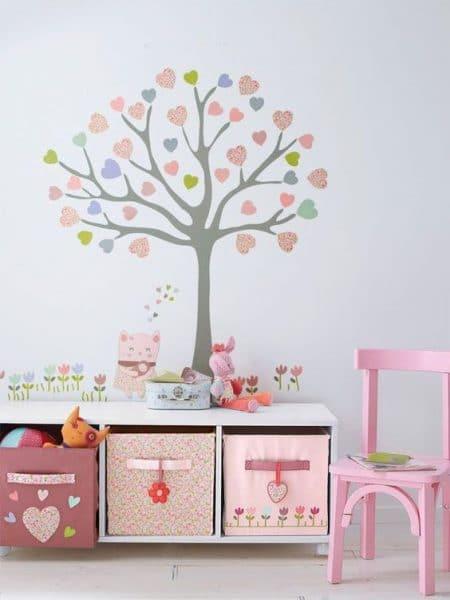 vinilo infantil de arbol para dormitorio de niña