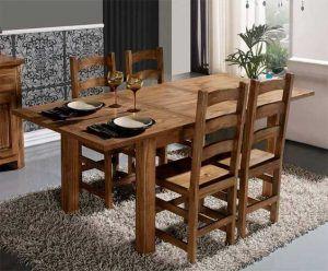 mesa comedor de pino oscura rustica