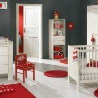Habitaciones para bebes modernas gris y rojo