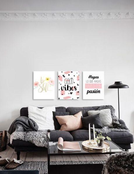 cuadros modernos con frases para living