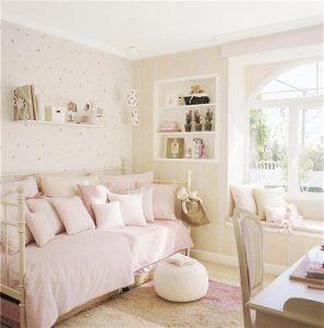 habitacion rosa y crema juvenil
