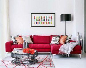 sala de estar con sillon rojo