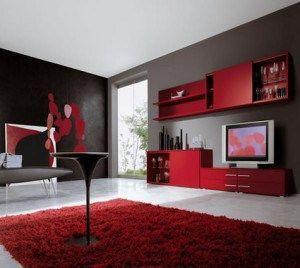 alfombra para living rojo y negro