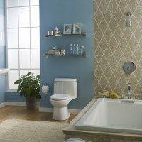 baño azul y beige