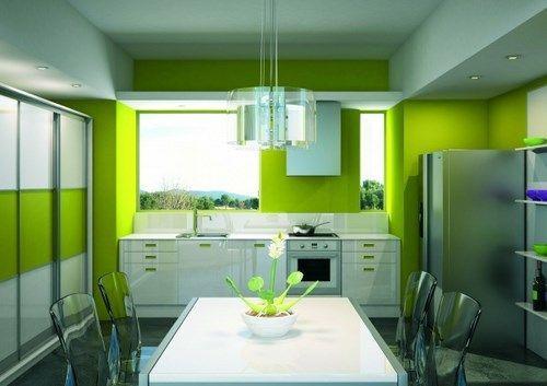 Cocina con pared verde manzana casa web - Pintura de cocina ...