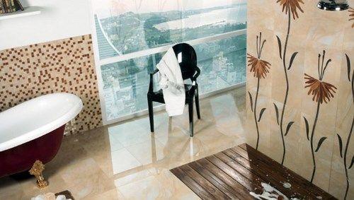 Revestimientos de cer mica con modernos dise os florales - Papel para azulejos de bano ...