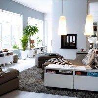 decoracion living marron y blanco
