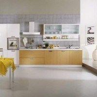 cocina con piso de microcemento