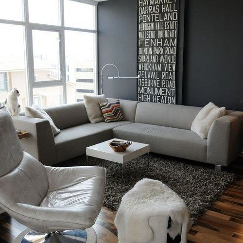 Decoracion de living gris casa web - Sofas amarillos color paredes ...
