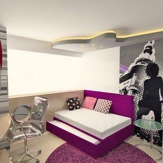 Dormitorio juvenil chica mujer violeta casa web for Habitacion lila y blanca
