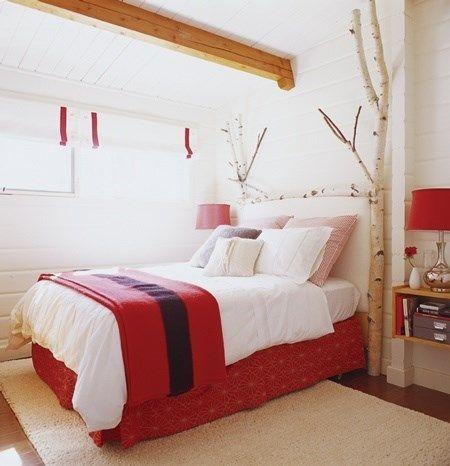 dormitorio rojo rustico