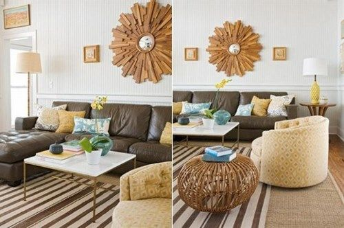 Decorar living con sofa marron casa web for Decoracion para sillones