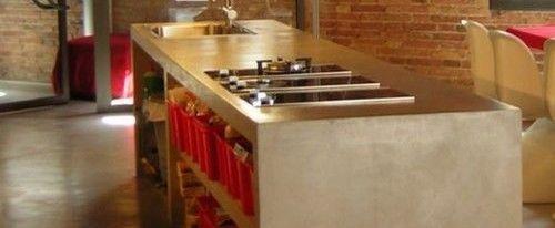 Cemento alisado en la cocina casa web - Aplicacion de microcemento en paredes ...