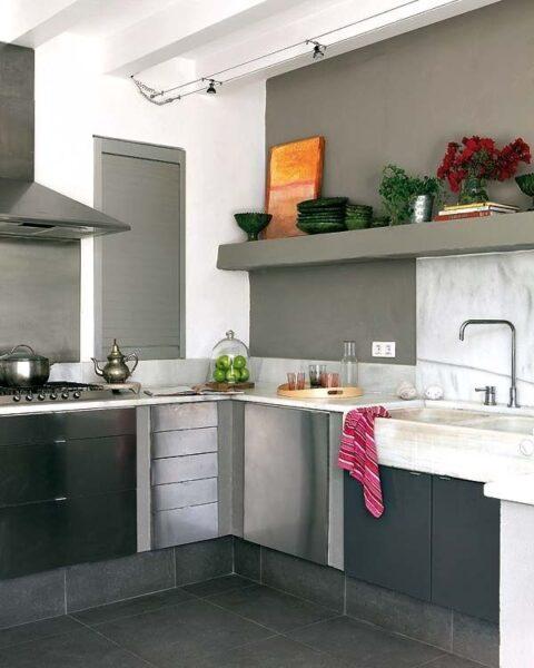 Microcemento alisado en la cocina casa web for Cocinas de concreto modernas