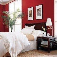pared roja en el dormitorio