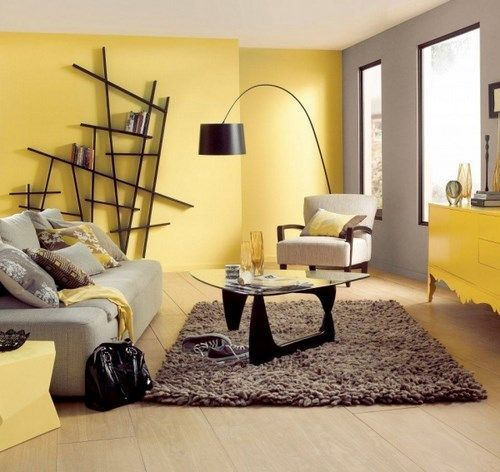 Sala gris y amarillo casa web for Web decoracion
