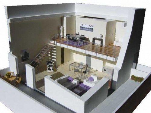 Arquitectura de loft modernos casa web for Casa minimalista maqueta