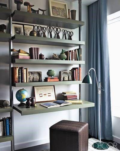 Estantes metalicos en el living casa web - Estanterias metalicas de pared ...