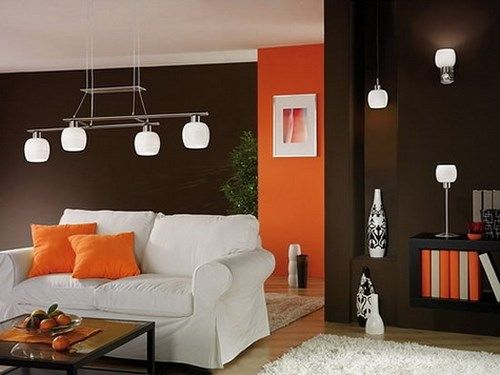 El color naranja en el living casa web for Decoracion para pared naranja