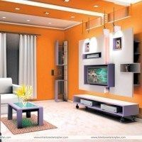 living moderno pared naranja