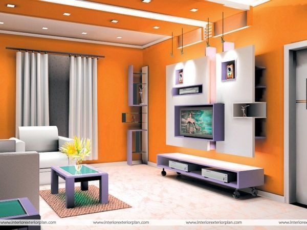 Living moderno pared naranja casa web for Living modernos 2016