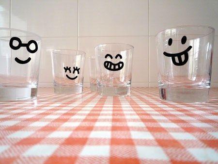 pegatinas en vasos