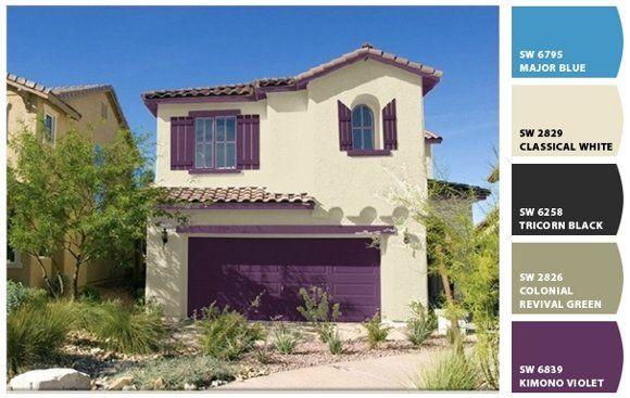 Casa beig y morado casa web for Pinturas de frentes de casas colores
