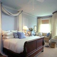 dormitorio matrimonial celeste beig y marron muy iluminado