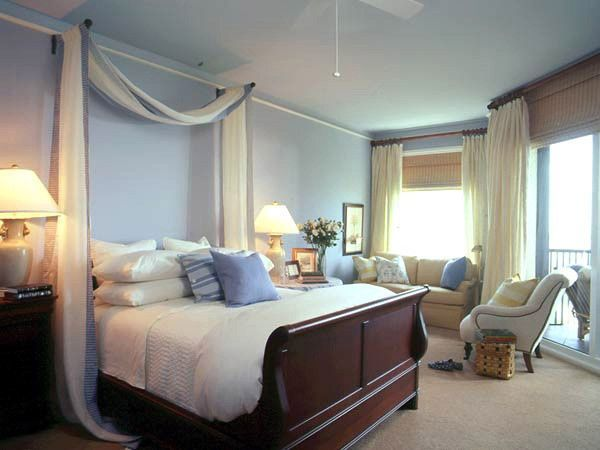 Dormitorio matrimonial celeste beig y marron muy iluminado - Como decorar un dormitorio matrimonial pequeno ...