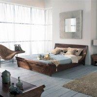 dormitorio rustico marron y celeste