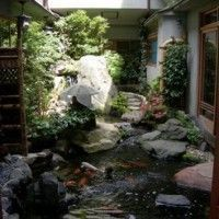 patio interno con cascada