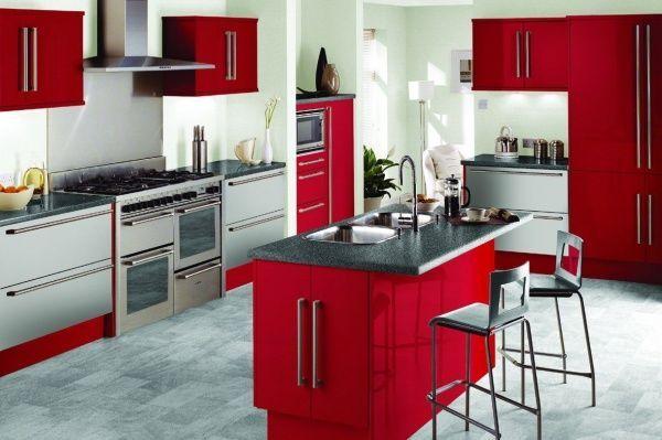 Amoblamiento de cocina roja casa web - Amoblamiento de cocina ...
