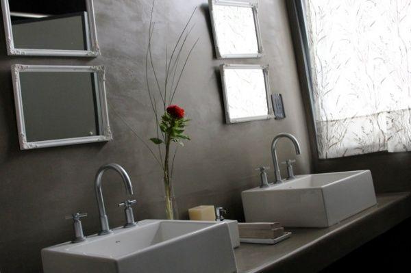 Baño Pequeno Microcemento:baño de lujo revestido con cemento alisado – Casa Web
