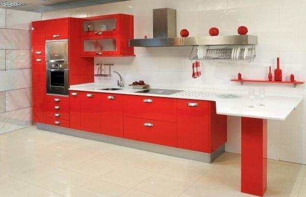 Cocina chica roja casa web for Todo para cocinas integrales