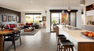 cocina comedro y livin integrado diseño moderno minimalista