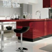 cocina minimalista roja