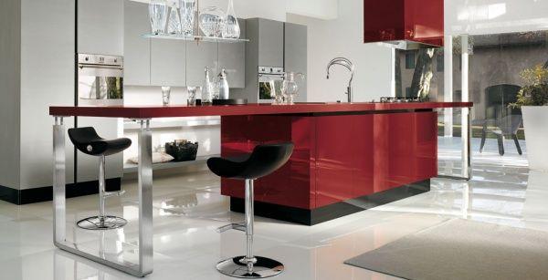 cocina minimalista roja - Cocina Minimalista