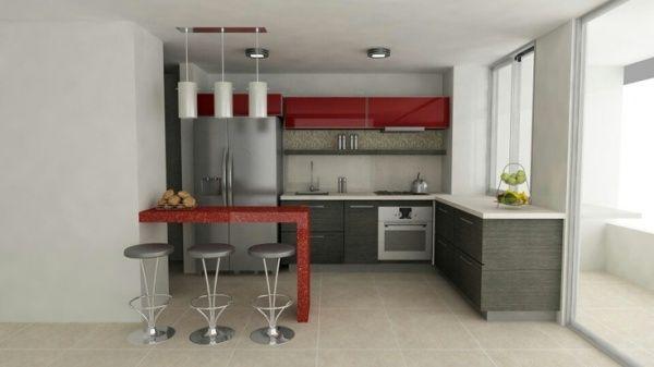 Cocina roja y gris casa web for Piso cocinas minimalistas