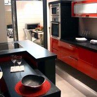 cocina roja y negra