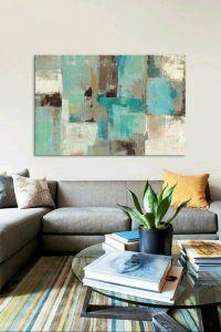 cuadros abstracto tonos celestes