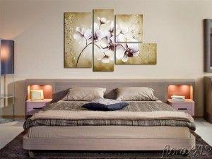 cuadros en series en dormitorio