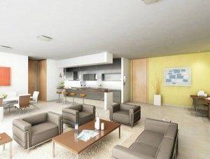 diseño de living con comedor y cocina