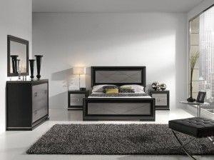dormitorio blanco y negro con tonos grises